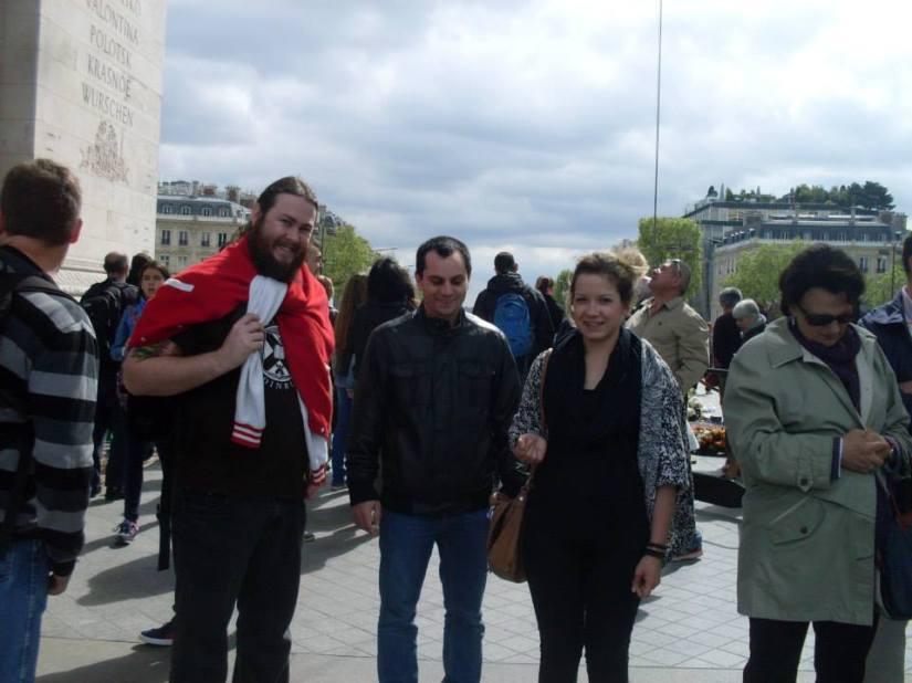 Chris, Jonas and Oreli at the Arc de Triumph.
